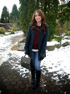 Outfit {Tartan + Quilted & Studded} - tartan coat, moto boots