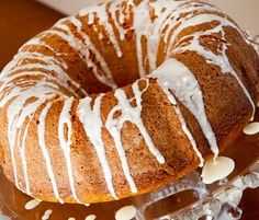 pumpkin spice cake using a yellow cake mix with cream cheese glaze.