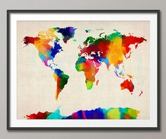 Rolled Paint Map of the World Map, Art Print- 12x16 up to 24x36 inch (894)