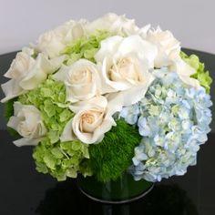 White Roses and Hydrangeas