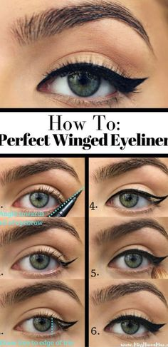 How to Apply Eyeliner. Eyeliner can help make your eyes stand out or look bigger, and it can even change their shape. Even if you've never worn eyeliner before, all it takes is a little practice to take your makeup to the next level! Simple Eyeliner Tutorial, Winged Eyeliner Tutorial, Easy Eyeliner, Winged Liner, Eyeliner Wing, Black Eyeliner, Cat Eye Makeup Tutorial, Silver Eyeliner, Smokey Eye Makeup