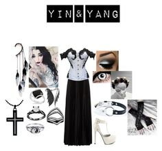 """""""Yin & Yang"""" by fallenangel889 ❤ liked on Polyvore featuring Haider Ackermann, Qupid, Allurez, Stephen Webster, Anni Jürgenson, AS29, AeraVida and NecroLeather"""