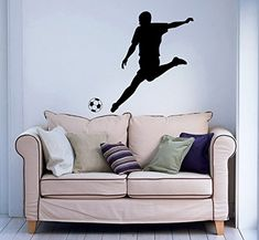 Wall Decal Soccer Player Vinyl Sticker Decals Sport Football Player Sportsman Ball Home Decor Kids Vinyl Sticker Wall Decal Nursery Bedroom Murals Playroom Art 6110 >>> More info could be found at the image url.-It is an affiliate link to Amazon. #WallStickersMurals