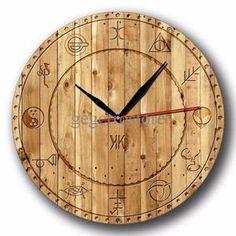 Jam Dinding Symbol Motif Kayu Vintage - Handicraft Wall Clock - Kool Katz 66e9187438