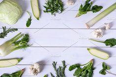 Fresh green vegetables by Iuliia Leonova on @creativemarket