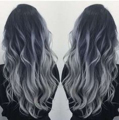 Super hair silver balayage black ideas #hair
