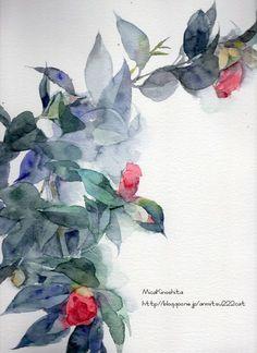 Japan Painting, Painting & Drawing, Botanical Drawings, Botanical Art, Watercolor Flowers, Watercolor Paintings, Batik Art, Collages, Painting Patterns