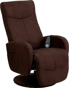 Flash Furniture Massaging Brown Microfiber Recliner w/ Microfiber Wrapped Base