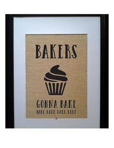 Funny Kitchen Pun Burlap Print Bakers Gonna Bake by BeanTownBurlap