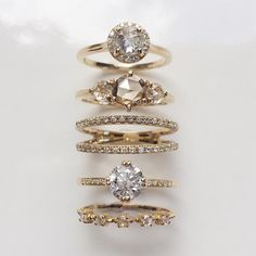 Vale Jewelry Tidals, Pavé Helix, Nova and salt & pepper set solitaire rings