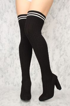 Buy Sexy Black Chunky High Heels Thigh High Heels Knit with cheap price and high quality Boots stores which offers Boots,women's winter boots,high heel boots,over the knee boots,suede boots shoes,womens sexy boots,thigh high boots,gladiator boots,platform