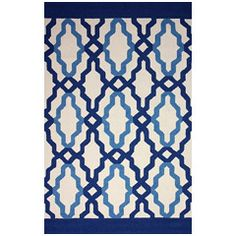 Franca Blue Hand Hooked Indoor/Outdoor Rug NULHJNO4A