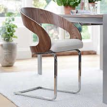 Curved padded dining chair walnut and white