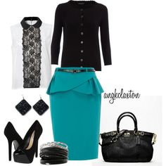 """""""Black and Teal"""" by angkclaxton on Polyvore"""