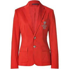 RALPH LAUREN Red Hibiscus Cotton Sateen Jacket ($470) ❤ liked on Polyvore