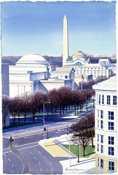 Washington Monument View by Margaret Huddy Award winning watercolor painting.