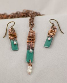 Torch-fired enameled necklace and earrings with pearl detail, custom colors on Etsy, $65.00