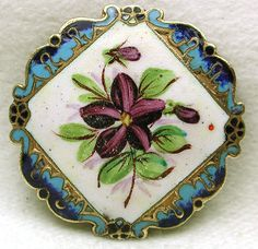 Antique French Enamel Button Hand Painted Flower w Fancy Colorful Border ❤