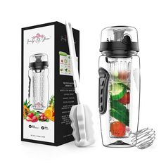 Fruit Infuser Water Bottle 32 oz: Flavored Water & Tea Infusion for Hydration, Protein Shake Sports Container, Leak-Proof Lid, Long Infuser Basket – with Sleeve, Cleaner Brush & Mix Ball Tea Infuser, Fruit Infuser, Detox Herbs, Infused Water Bottle, Water Bottles, Healthy Water, Fruit Water, Sports Drink, Protein Shakes