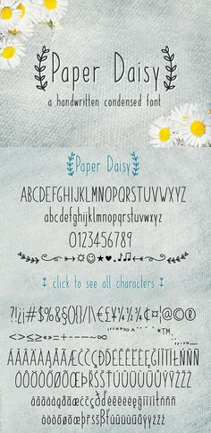 Paper Daisy is a #handwritten condensed #font with love for detail. It's perfect to add a neat and individual look to your things.