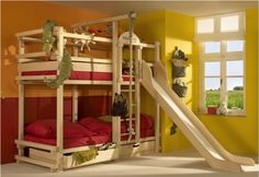 room ideas with a triple bunk bed bunk bed with slide by woodland children love bunk beds Bunk Beds Boys, Wooden Bunk Beds, Cool Bunk Beds, Kid Beds, Loft Beds, Play Beds, Bunk Bed With Slide, Bunk Beds With Stairs, Bed Stairs