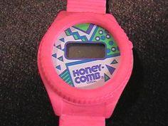 Got 80s nostalgia? ;) RARE VINTAGE 1989 HONEYCOMB DIGITAL WATCH HOT PINK CEREAL BOX TOY MEMORABILIA 1980s TOYS - on eBay! $2.98
