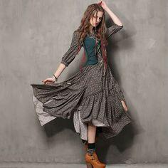 Summer Style Women Dress 2016 Yuzi.may Vintage Tunic Cotton Combo Dresses Mandarin Collar Three Quarter Sleeve Maxi Vestido 6526
