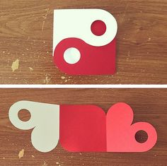 Yin-Yang Heart Card by ciaorain on DeviantArt Diy Crafts Hacks, Diy Crafts For Gifts, Tarjetas Diy, Exploding Box Card, Card Making Templates, Paper Crafts Origami, Diy Gift Box, Heart Cards, Pop Up Cards