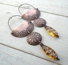 Tribal Crescent Star Earrings by Lost Sparrow Jewelry