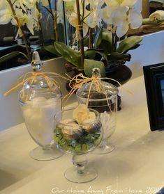 Apothecary Jars Bathroom, Apothecary Decor, Glass Bathroom, Bathroom Ideas, Auction Baskets, Cute House, Bath Decor, Guest Bath, Glass Jars