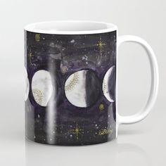 Phases Of The Moon Coffee Mug by Rachelsartprojects - 11 oz Circle Art, Amai, Unique Coffee Mugs, Moon Phases, Tea Mugs, Wraparound, Black Silver, Coffee Cups, Microwave