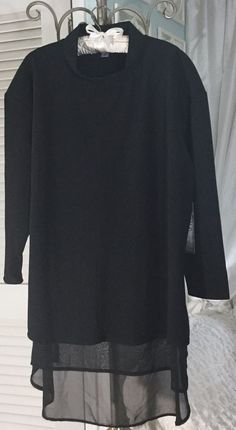 f3646e256af89 NEW ~ Plus Size 2X Black Tunic Sheer Top Shirt Blouse  79