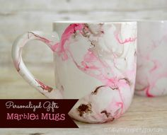Marbled Mugs - CreativeMeInspiredYou.com crafts, mugs, coffee mugs, coffee, marbling, marbled, pink, silver, brown, white, Christmas gifts, gifts, nail polish marbling
