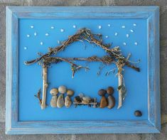 "Pebble Art, Rock Art, NATIVITY,(Mary, Joseph, Baby Jesus, Three Wisemen), Christmas, holidays, religious 8.5x11 ""open"" frame (FREE SHIPPING)"