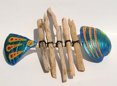 Tropical Wall Art Blue Driftwood Fish with Tail by Seagypsys, $35.00