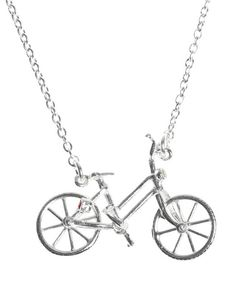 Silver Bicycle Necklace With Ruby