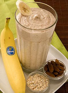 Almonds, cooked oatmeal, bananas and yogurt meet up in your blender for a power breakfast!