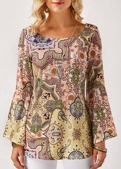 Scoop Neck Flare Sleeve Printed Blouse on sale only US$30.16 now, buy cheap Scoop Neck Flare Sleeve Printed Blouse at liligal.com