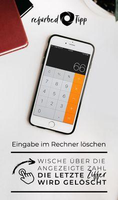 Das ist vermutlich schon jedem passiert: Du willst schnell etwas auf deinem iPhone ausrechnen, doch dann vertippst du dich auf der kleinen Tastatur. Nun musst du alles löschen und noch einmal neu eingeben — wie nervig! Abhilfe schafft dieser kleine Trick: Wische einfach mit deinem Finger über die angezeigte Zahl. Die jeweils letzte Ziffer die du eingegeben hast wird damit wieder gelöscht. Damit sind Tippfehler beim Rechnen kein Problem mehr! #refurbed #nachhaltig #umwelt Iphone Hacks, Tricks, Finger, Blog, Keyboard, Numeracy, Simple, Blogging