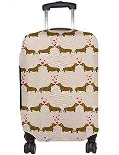 Dachshund Dogs Print Travel Luggage Protective Covers Washable Spandex Baggage Suitcase Cover - Fits 18-32 Inch