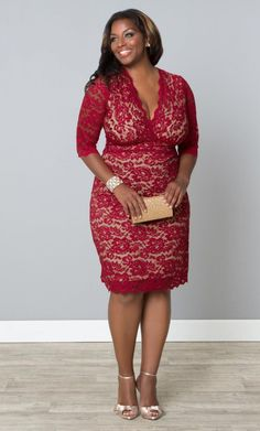 Scalloped Lace Cocktail Evening Dress, Red Lace/Nude Lining (Womens Plus Size) From The Plus Size Fashion Community At www.VintageAndCurvy.com