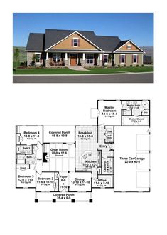 Craftsman House Plan 59947 | Total Living Area: 2800 sq. ft., 4 bedrooms and 3.5 bathrooms. #craftsmanhome