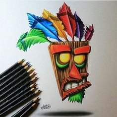 Awesome Aku Aku drawing