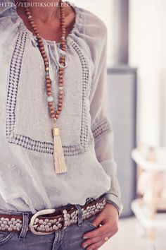 Boho bead necklace with tassel