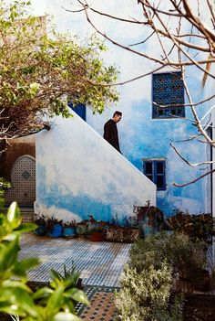 Outside of the African Suite at the Fez Jardin Des Biehn were these walls, washed in a blue color popular throughout Morocco.