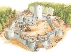 how build a castle - Yahoo Image Search Results Medieval Houses, Medieval Life, Medieval Castle, Medieval Fantasy, Fantasy Castle, Fantasy Map, Toy Castle, Medieval Fortress, Beautiful Ruins