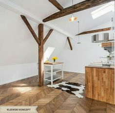 Poddasze zabytkowej kamienicy #wood #woddenfloor #attic #interiordesign #design #home #decor # kitchen #inspiration