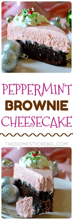 This Peppermint Brownie Cheesecake is such an impressive, show-stopping, EASY dessert for the holidays! Cool, creamy, minty no-bake peppermint cheesecake sits atop a fudgy baked brownie in this decadent and beautiful dessert! Can be made ahead and feeds a crowd!