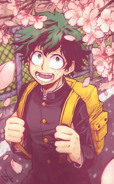 "Midoriya ""Deku"" Izuku, smiling, sakura blossoms, tree, bookbag; My Hero Academia"