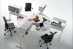 Poste de travail multiple design pour open-space BEDA by by Lluscà Studio OFITA
